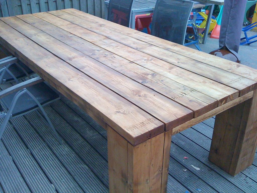 Zelf steigerhouten meubelen maken Steigerhouten tafel met steigerbuizen zelf maken